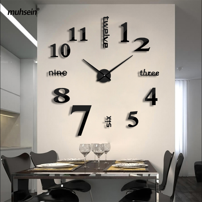 2018 Super Big DIY Reloj de pared de acrílico EVA Metal Espejo Super Big Relojes digitales personalizados Relojes Freeshipping 130cm x 130 cm