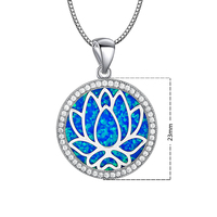 Blue Round lotus Fire Opal Stone Sliver Pendants For Women PJ180219004 1