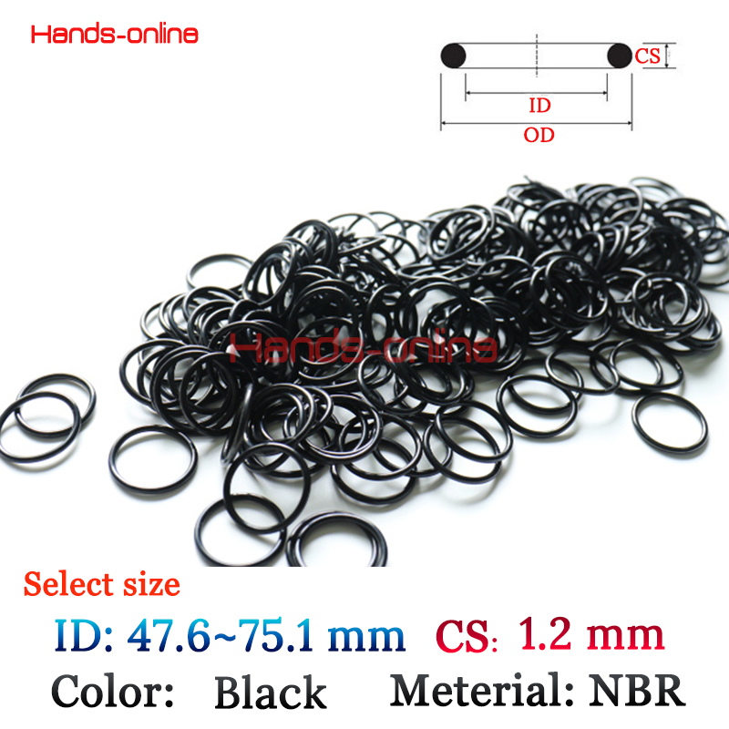 10x NBR Oil Resistant Nitrile Butadiene Rubber Gasket O Rings seal Washer Seals 1.2mm O-Ring Sealing Ring 47.5-75.1mm rubber seals for fluid and hydraulic systems