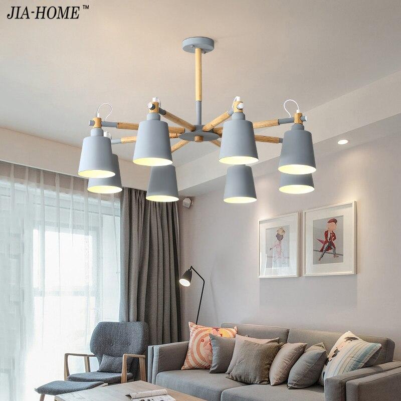 Wooden LED Chandeliers For Living Room Hanging Lights Lustres para sala de jantar Nordic Hanging Light