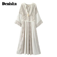 DENISKA New White Retro Gypsy Boho Women Midi Dresses Sexy V Neck Hollow Out With Button