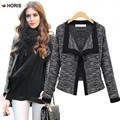 Women Jacket Blazer 2017 Spring Autumn Slim Elegant Knitting Cardigan Gray Womens Blazer Women's blazer Female Plus Size H628
