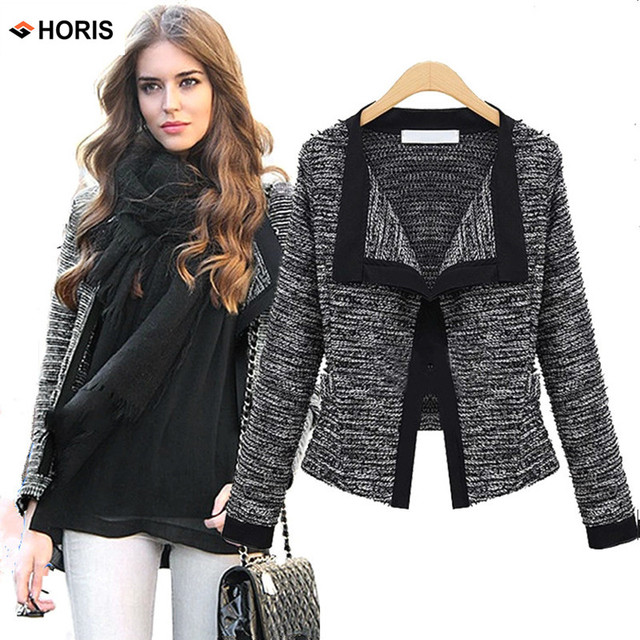 6952809d216 Women Jacket Blazer 2017 Spring Autumn Slim Elegant Knitting Cardigan Gray Womens  Blazer Women s blazer Female