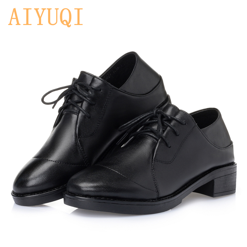 aiyuqi Autumn new 2019 Lace women shoes genuine leather rubber shoes for women big size 35