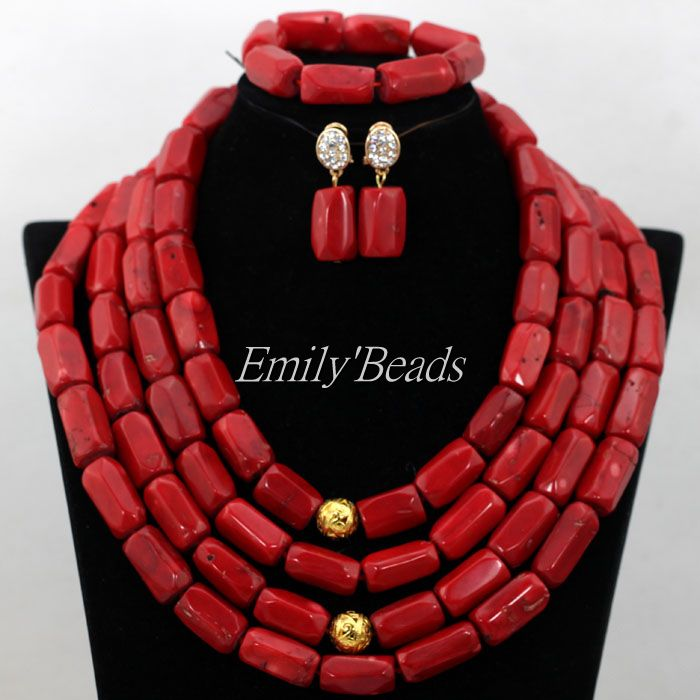 Free Shipping! New Chunky African Coral Beads Necklace Set 4 Layers Red Nigerian Coral Beads Wedding Bridal Jewelry Set CJ521 new fashion nigerian african wedding coral beads jewelry set chunky statement necklace set full beads free shipping cnr345