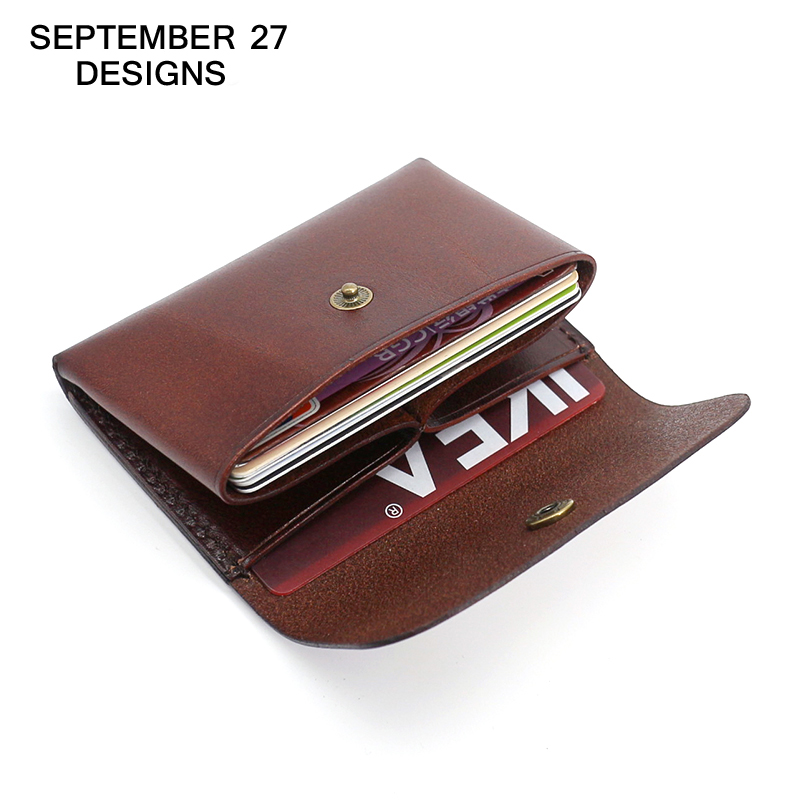 Card Case Top Genuine Leather Cowhide Retro Credit Card Holder Vintage Mini Wallet Small Purses Name/bus/ID/bank Card Case