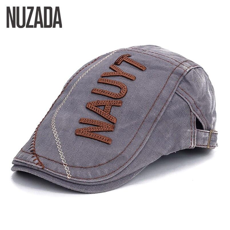Brand NUZADA Size Can Be Adjusted Men Women Unisex Beret Hats Spring Autumn Flat Visor Cap Boina Chapeu Letters Cotton Caps