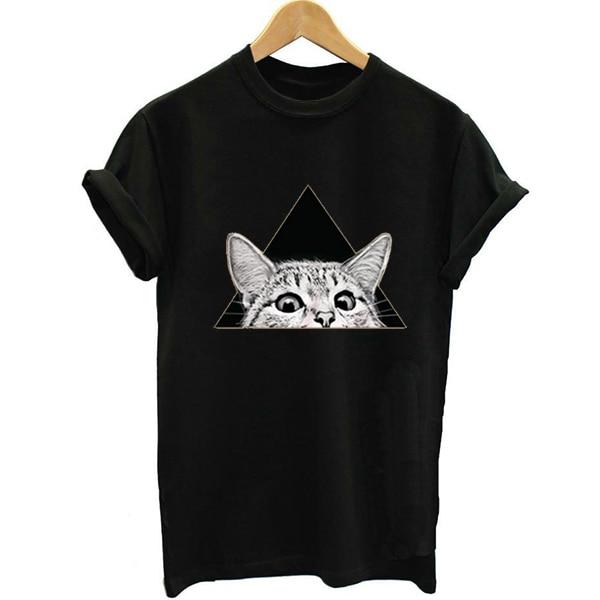Funny Cat T-shirt Print Black Short Sleeve Tshirt Women T shirt Harajuku Tee Tops Shirts 2018 Streetwear Summer Top Clothes