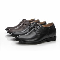 8128 Genuine Leather Formal Shoes In Height Increasing Hidden Increaser Black Color Grow Taller 7CM For