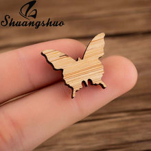 Shuangshuo Origami Animal Butterfly Pin Cute Wooden Enamel Pins Badges Brooches Lapel Pin Jewelry Brooches for Women Party Gifts(China)
