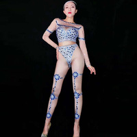 Sparkly Blue Rhinestones Stretch Spandex Jumpsuit Women's Birthday Party Dance Bodysuit Celebrate DJ Women Singer Clothes DJ1035
