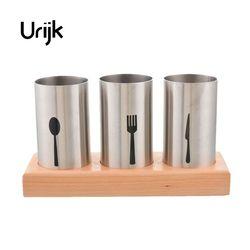 Urijk High-grade Kitchen Chopsticks Knife And Fork Basket Creative Storage Lek Rack Wooden Stainless Steel Chopsticks Cage Set