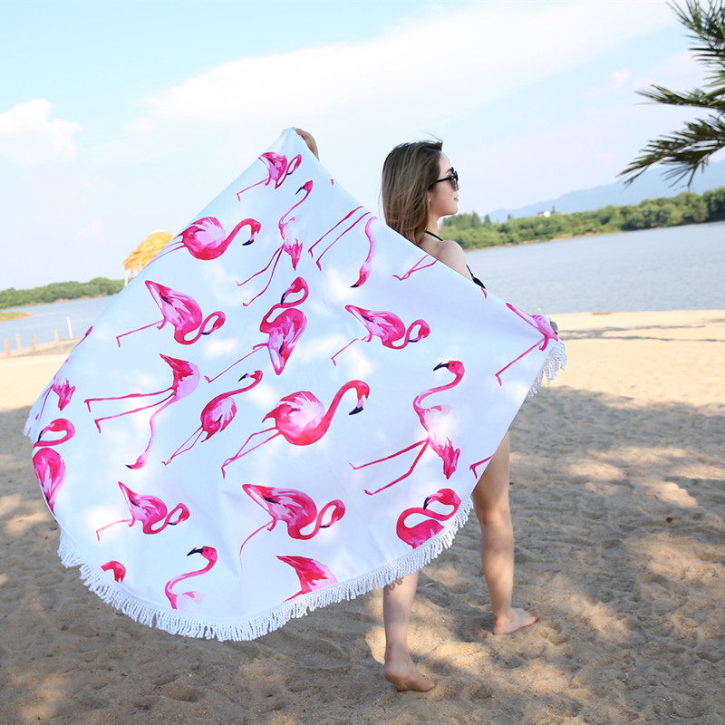 XC USHIO 2018 Newest Style Fashion Flamingo 450G Round Beach Towel With Tassels Microfiber 150cm Picnic Blanket 450g/500g