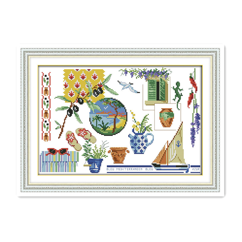 Joy Sunday Hand-made small art potted living home decoration accessories wall stickers cross stitch suite embroidery painting