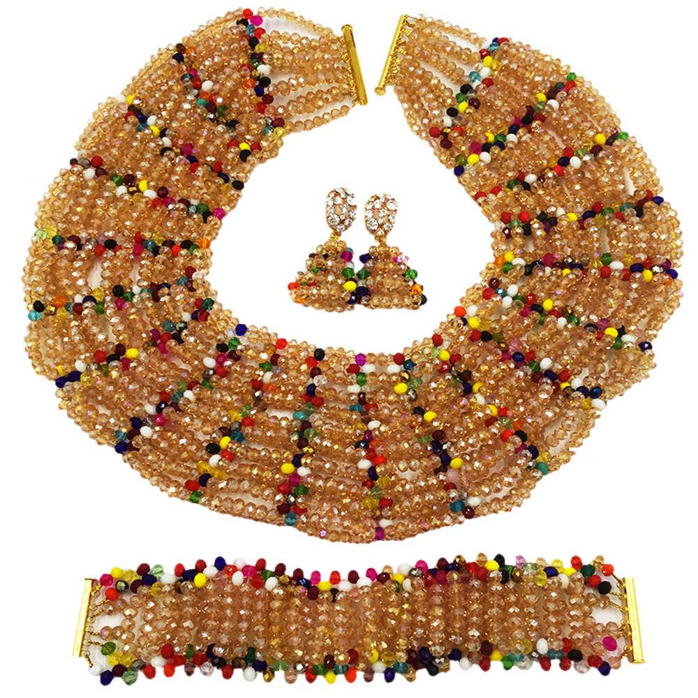 Women Fashion Gold Multicolor Crystal Beaded Necklace Earrings Bracelet African Wedding Beads Set Nigerian Wedding Gifts SXK004 все цены