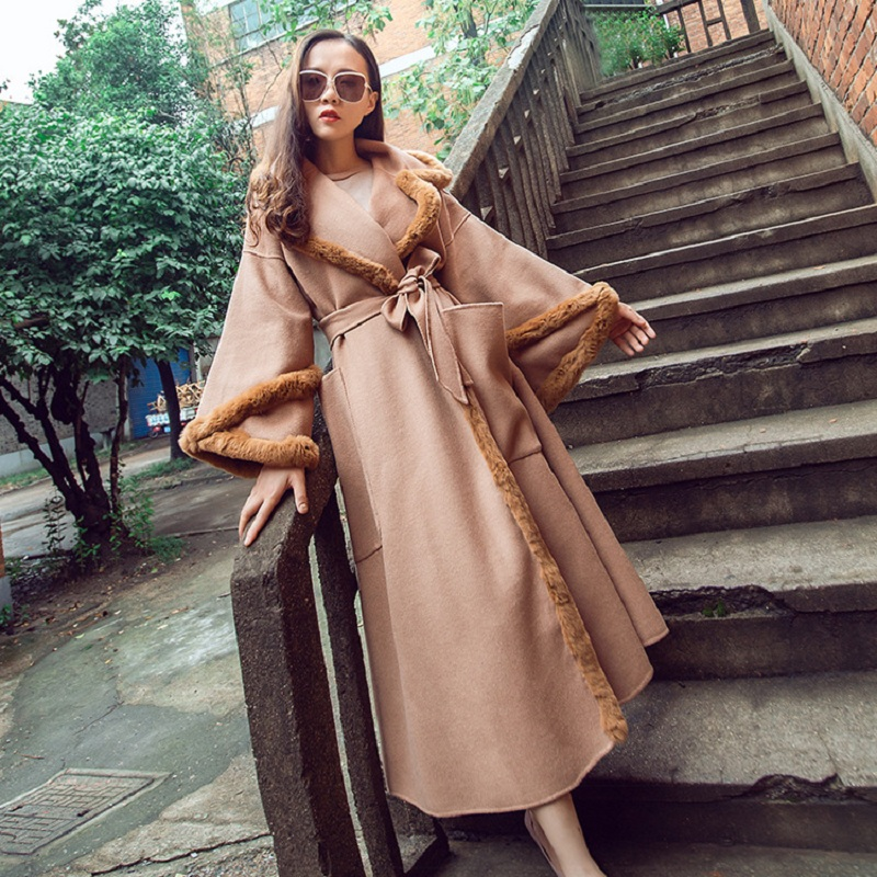 2019 NEW Women Warm Elegant Rabbit Fur Collar Overcoat 80% Pink WOOL Coat Female Regular Solid V-neck Jacket Coats