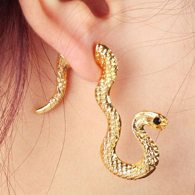 Whol New Design Gold Snake Earrings Womens Jordans 24 Pieces