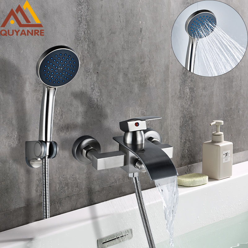 Quyanre Bathtub Shower Faucet Waterfall Faucet Single Handle Mixer Tap Brushed Nickel ABS Handshower Bath & Shower Faucets wall mount single handle bath shower faucet with handshower antique brass bathroom shower mixer tap