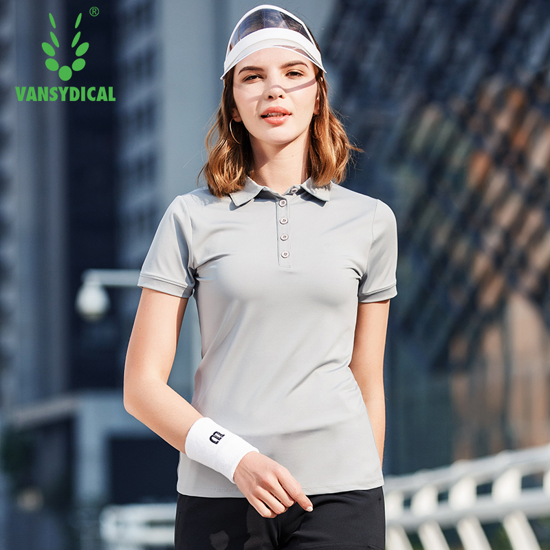 Vansydical Golf Shirts Womens Short Sleeve Sports Polo Shirts Quick Dry Slim Outdoor Training Tennis Badminton Sportswear Tops