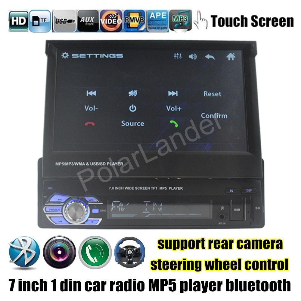 7 Inch 1 Din HD Bluetooth Car Radio stereo MP5 MP4 Player steering wheel control touch screen rear camera input TF/USB/FM/AUX 4022d car radio mp4 player with rear view camera 4 1 inch car mp3 mp5 player bluetooth fm transmitter stereo audio for music
