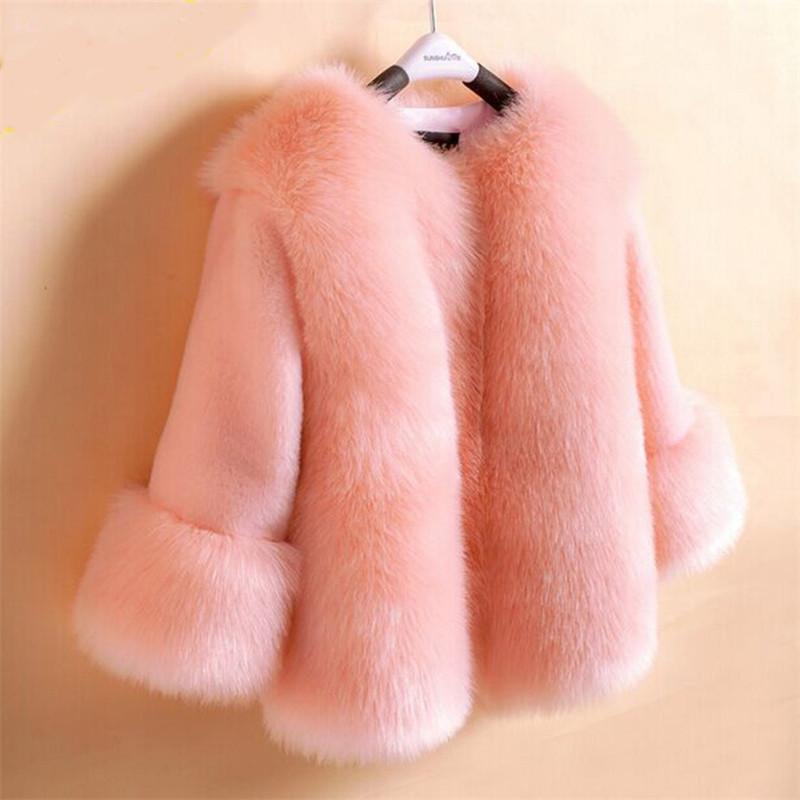 2019 新ファッション冬の子供の女の子エレガントなフェイクフォックス子供厚みのパーカー服十代の少女毛皮のような暖かい上着 q850  グループ上の ママ & キッズ からの ジャケット & コート の中 1