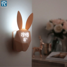 Student Music Cute Charge Creative Snooze Alarm Clock Sound Control Bedroom Bedside Quiet LED Night Light