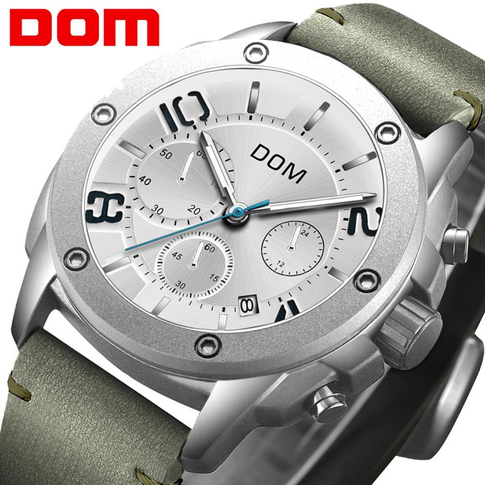 DOM 2019 New Sports Men Watches Top Brand Luxury Chronograph Quartz Watch Men Waterproof Watch Clock Relogio Masculino M-1229L