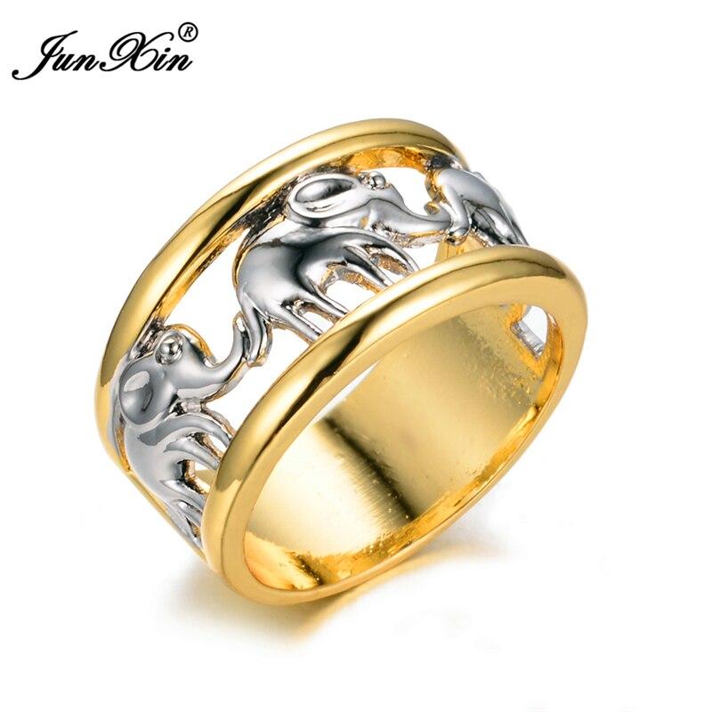 Prix pour JUNXIN De Luxe Jaune/Blanc Or Rempli Anneau Femmes Hommes Mignon Éléphant 10KT Bagues Lady Bijoux De Mariage De Mode Haute qualité