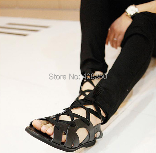 f8587c8b96b 2015 Men s Soft Leather Casual Gladiator Sandals All-match Fashion Leisure  Black Sandalias Mujer Shoes