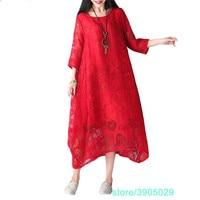 Plus Size Women Clothing Summer Style Sexy Lace Dress Patchwork Floral Vintage Female Vestidos Dress Large Size Dress