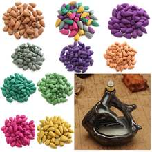 50pcs/pack Multiple Smell Colorful Natural Bullet Buddhism Backflow Incense Jasmine Smoke Hollow Cones Tower Fragrance Incense(China)
