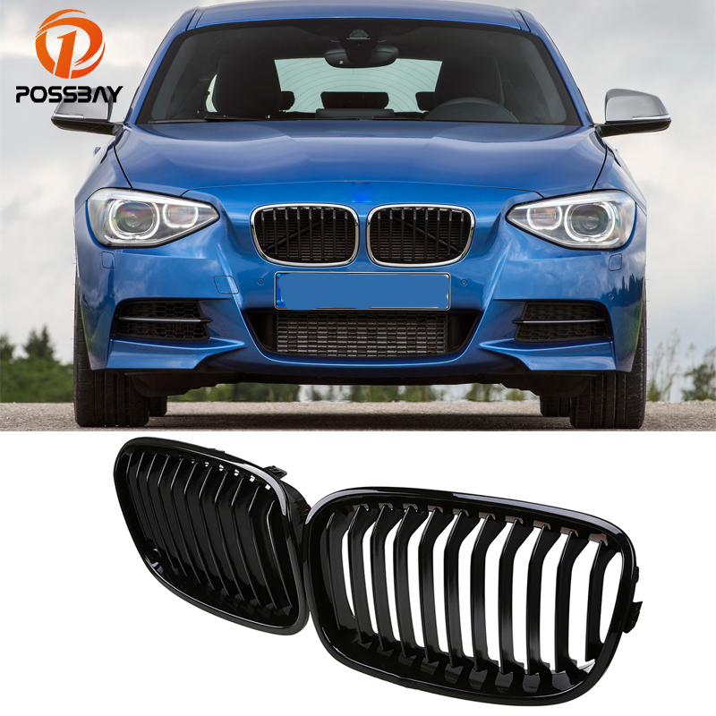 POSSBAY Car Styling Shiny Gloss Black Kidney Grille for BMW 1-Series F20 118d/118dX 5-Door 2011-2015 Pre-facelift Center Grill car bight glossy black double slat front grille grill for bmw e92 lci facelift e93 2011 2012 2013 c 5