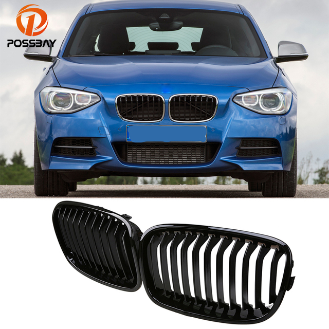 POSSBAY Car Styling Shiny Gloss Black Kidney Grille for BMW 1-Series F20 118d/118dX 5-Door 2011-2015 Pre-facelift Center Grill