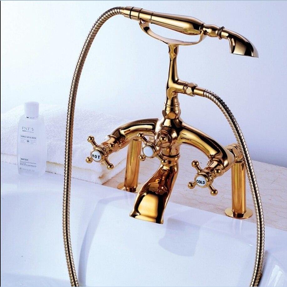 Bathroom faucet deck mounted brass bath spout modern bathroom faucets - Free Shipping Modern Bathroom Deck Mount Clawfoot Bath Tub Filler Faucet Gold Handshower 024 China