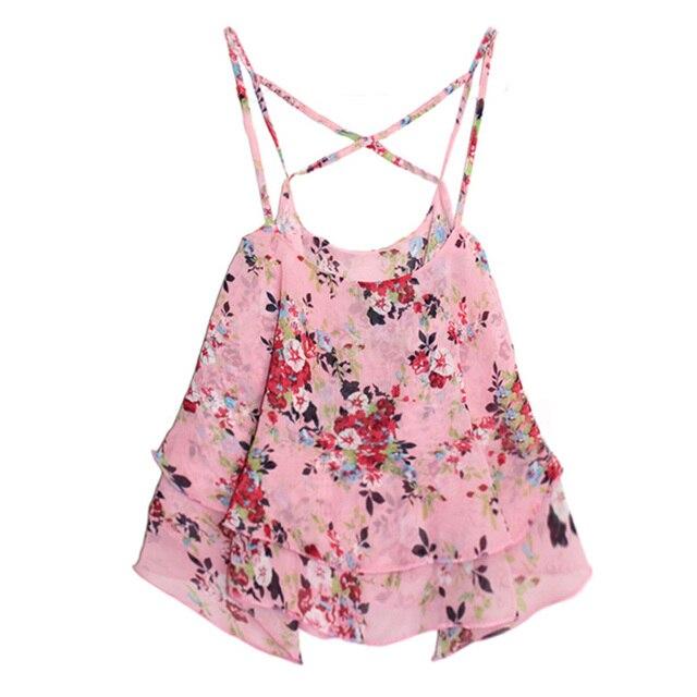 Women Summer Tops Shirts Beach Wear Strap Bikini Cover Ups Women Tank Top Candy Color Double Layer Chiffon Shirts For Ladies 2