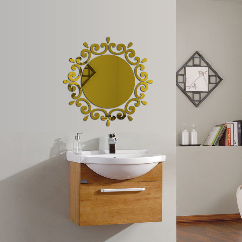 2015 Hot Acrylic 3d Wall Stickers Large Mirror Sticker Vintage Home