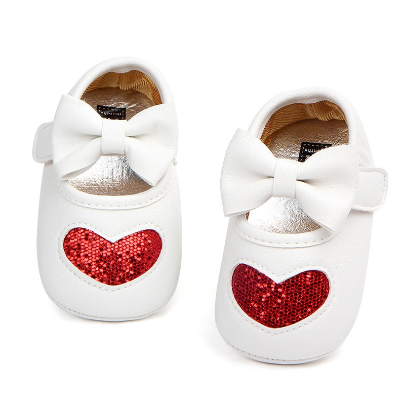 Unisex Baby Girls Boy Toddlers Soft Sole Shoes Crib Bow Love Heart Shoe First Walkers 0-18Months