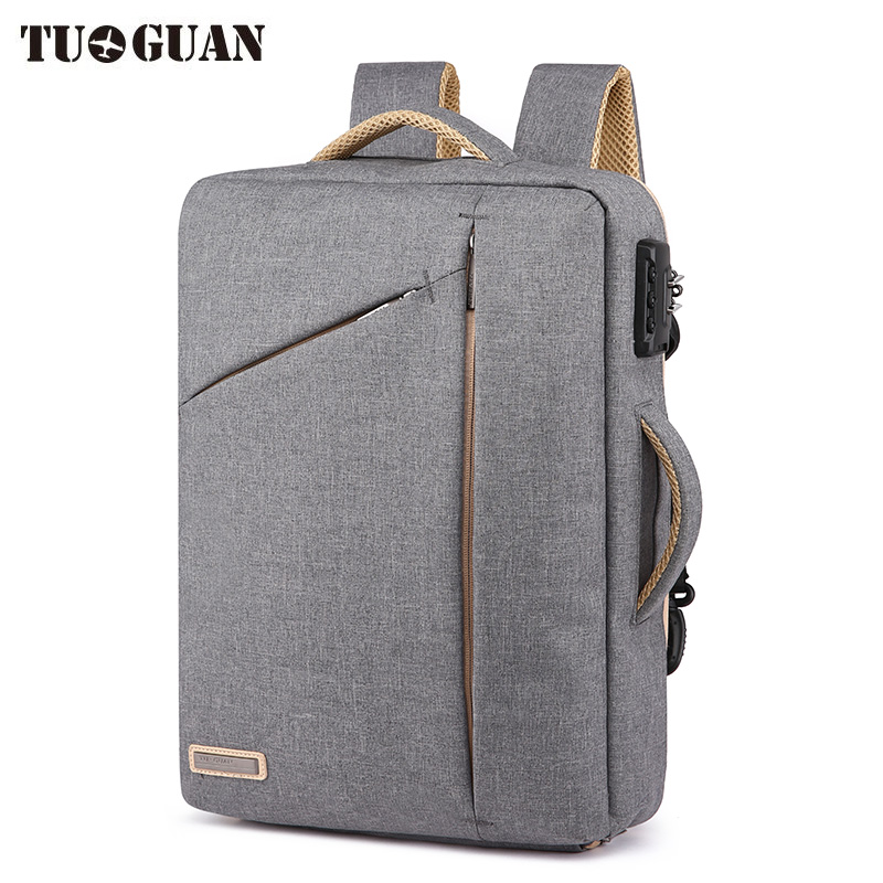 TUGUAN Men Anti Theft Password Lock Backpack Business School Back Pack Laptop Backpacks Waterproof Bags Boy Travel Bagpack Male sopamey usb charge men anti theft travel backpack 16 inch laptop backpacks for male waterproof school backpacks bags wholesale