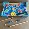 2017 New Arrival Magnettic Large Size 10Pcs Fishing Toys Game Wooden Toys 2 Rod With Fishing Table Child Educational Gift