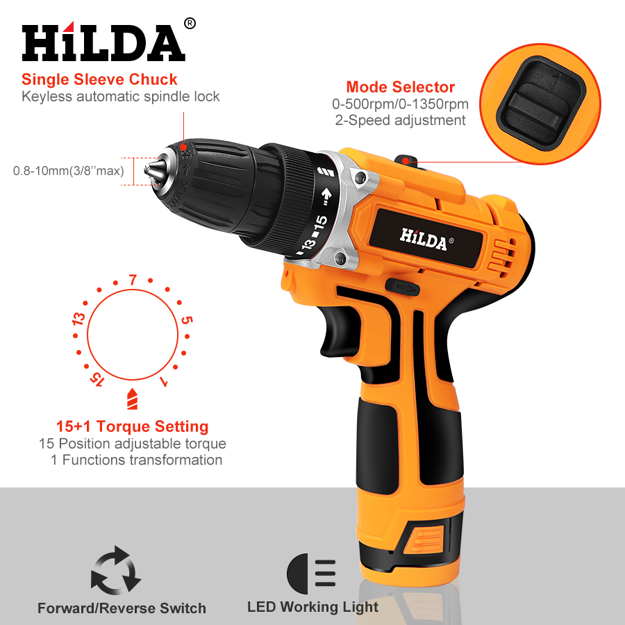 Image 4 - HILDA 12V Electric Drill With Rechargeable Lithium Battery Electric Screwdriver Cordless Screwdriver Two speed Power Tools-in Electric Screwdrivers from Tools on