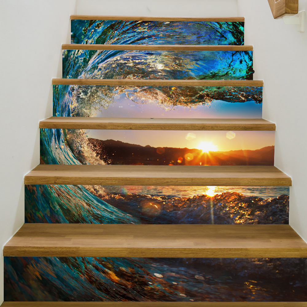 3D Steps Wall Stickers for Kids Rooms Sunset Sea Waves Tile Pattern font b Home b