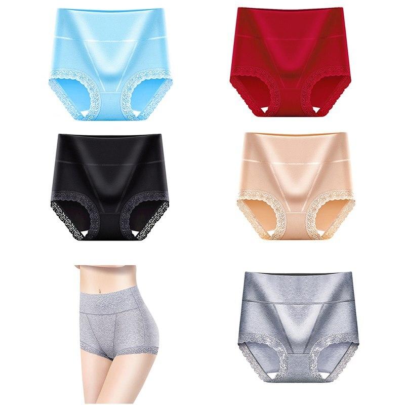 Cotton Panties High Waist Women Sexy Lace Body Shaper Underwear Soft Comfort Women Briefs Seamless Slimming Lady Lingerie