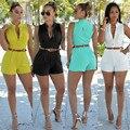 6 colores S-XXL nuevo 2016 mameluco del verano bodycon mamelucos womens jumpsuit XD888 cortos sin mangas S-XXL más el tamaño del mono con cinturón