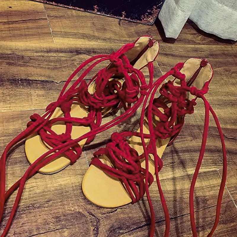 Laamei รองเท้าแตะโรมันรองเท้าแตะผ้าพันคอผู้หญิงเข่าสูงแบน Sandalias Botas Femininas รองเท้าสาวฤดูร้อนข้อเท้า Boot