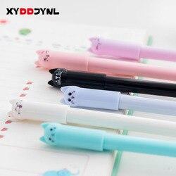 1 шт., креативные канцелярские принадлежности, Студенческая ручка, милый кот, гелевая ручка, 0,5 мм, полная игла, черная чернильная ручка, школь...