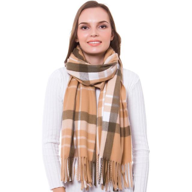 052d53005 Cashmere Scarf Winter Shawl Women Stylish Check Plaid Autumn Wrap Wool Fine  Brushed Long Large Thick Tartan Tassel Hijab Camel