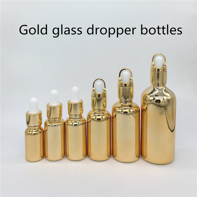 10ml,15ml,20ml,30ml, 50ml,100ml garrafa de vidro de ouro com garrafa de óleo essencial conta gotas, garrafas de perfume 100 pces