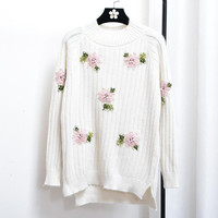 Autumn Winter Embroidery Flower Sweater O Neck Long Sleeve Knitted Pullover Jumpers Korean Sweet Pearl Beaded