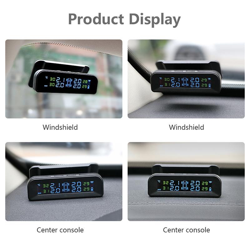 Image 2 - Jansite TPMS Car Tire Pressure Alarm Monitor System Real time Display Attached to glass wireless Solar power tpms with 4 sensors-in Tire Pressure Alarm from Automobiles & Motorcycles