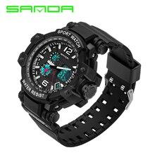 2016 digital de moda reloj de los hombres relojes deportivos militar impermeable reloj militar Relogio masculino Sanda alarma LED al aire libre